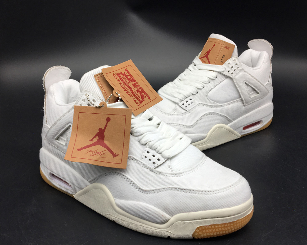 """5d2564ba774 With a price tag of $225 USD, the Levi's x Air Jordan 4 Retro """"White Denim""""  and """"Black Denim"""" is set for stores in June 30 along with an accompany  capsule ..."""